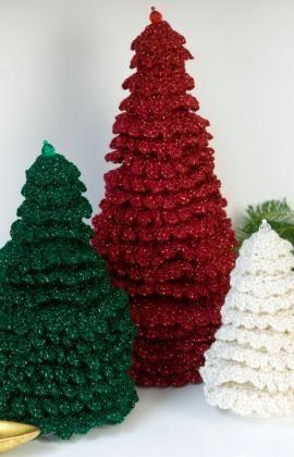 Ruffle Fir Trees Crochet Pattern Red Heart Crochet Christmas Trees Pattern Christmas Crochet Patterns Crochet Tree