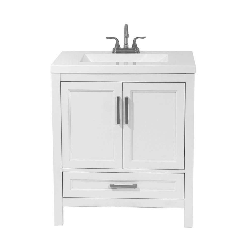 Salerno 31 In Bath Vanity In White With Cultured Marble Vanity Top In White With White Basin 2020