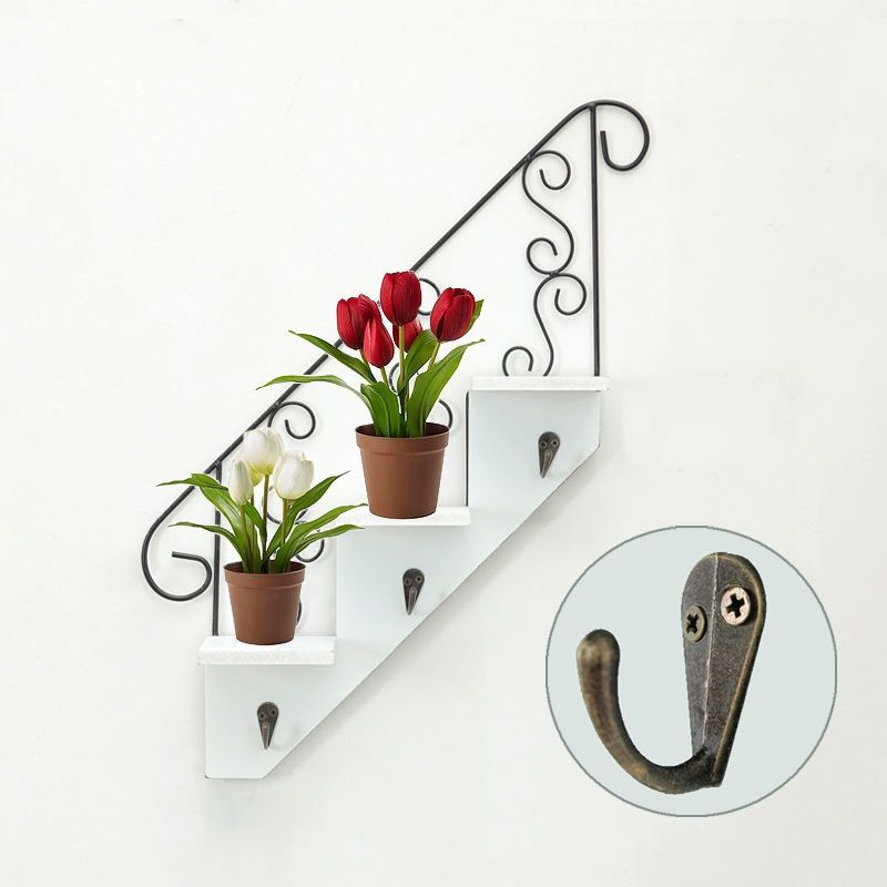 Stair Steps Wall Shelf With Hooks Iron Wood Display Planter Decoration Idea Unbranded Farmhouse Wall Shelf With Hooks Wood Display Wall Shelves