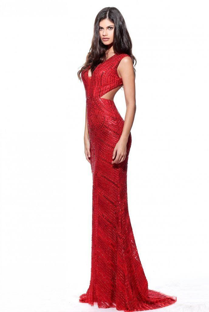 Sherri Hill - 53558 Beaded V-Neck Long Dress   Sherri hill