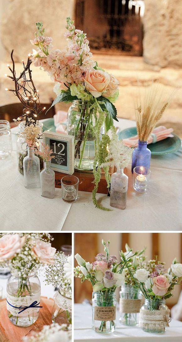 Tarros de cristal para bodas centros de mesa vintage for Adornos para bodas con plantas