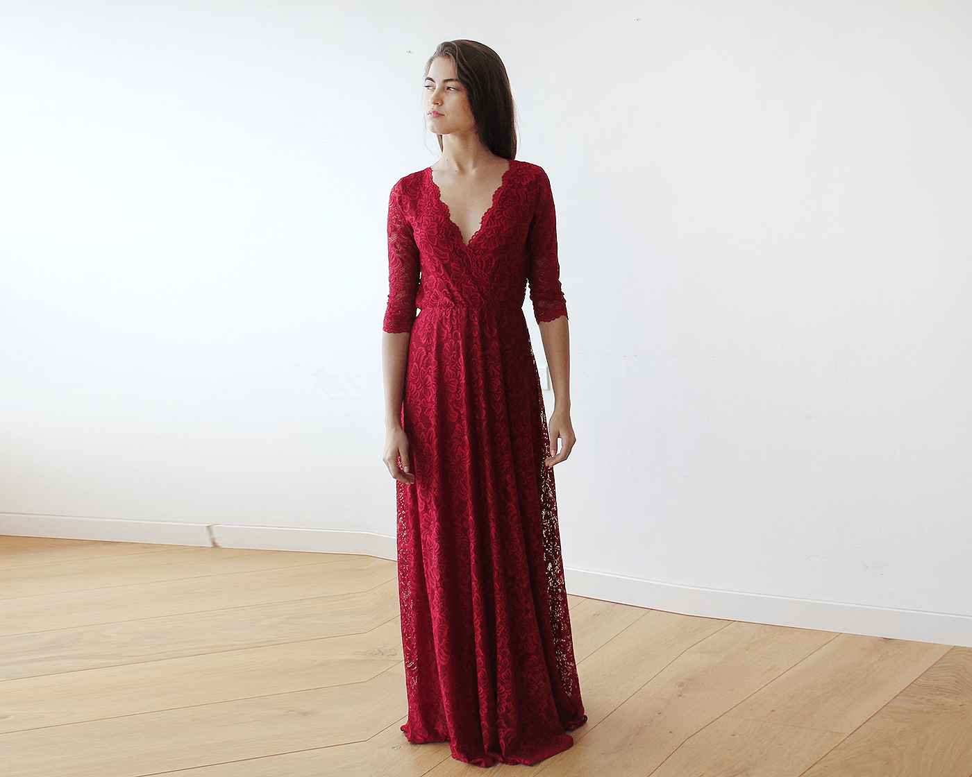 fa040cdbbce7 Lace three quarters sleeves Bordeaux maxi dress 1124 in 2019 ...