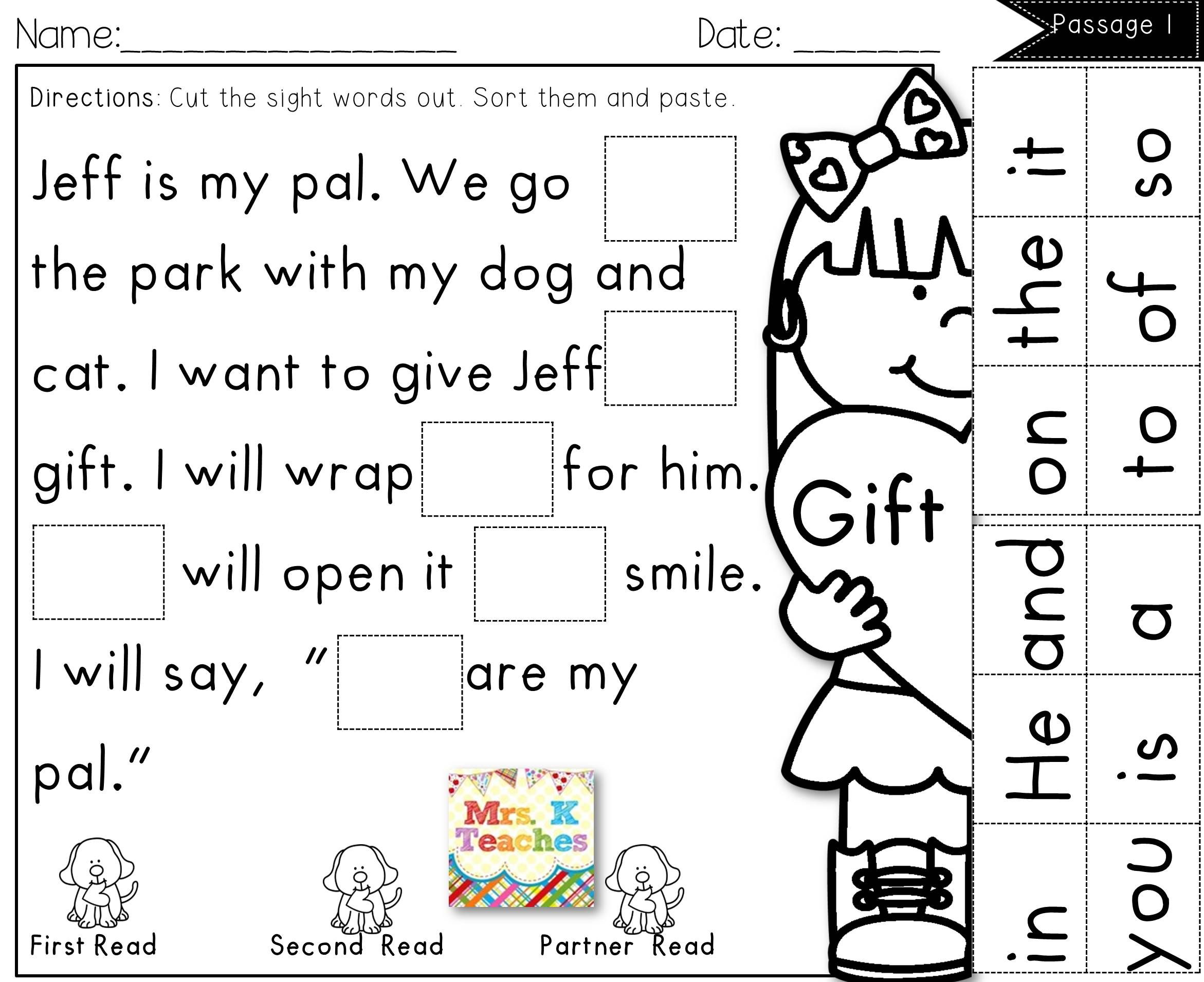 Sight Word Cut And Paste Fluency Passages Spring