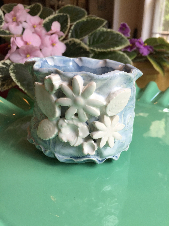 Blue And White Flower Pot Small Handmade Planter Ceramic White Flower Pot Ceramic Flower Pots Handmade Planter