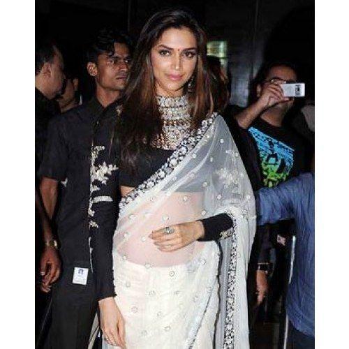 Deepika Black White Replica Bollywood Net Saree Worn During Aarakshan Premiere Ab0g Sarees Online Saree Latest Sarees