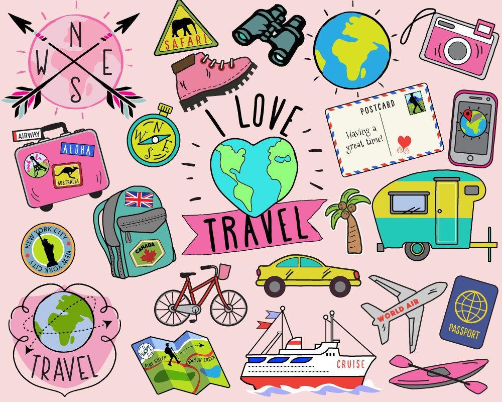 travel clipart summer clipart bullet journal stickers travel clip art summer clip art summer travel clipart vacation clipart by katybeedesign on etsy [ 1000 x 800 Pixel ]