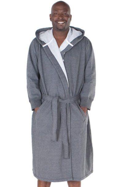 182f70f0ef Amazon.com  Del Rossa Men s Sweatshirt Style Hooded Cotton Bathrobe Robe