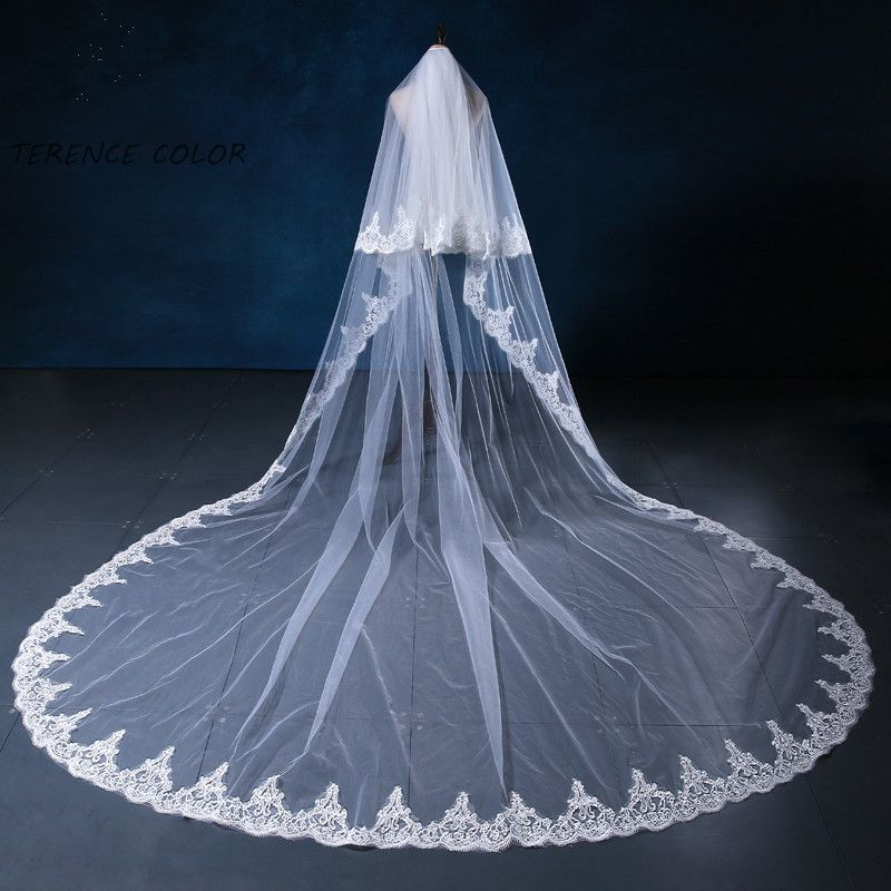 Wedding Accessories Quality Bridal Veil Directly From China Lace Suppliers Two Layers White And Ivory Cathedral Length