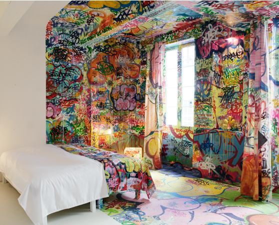 """Panic Room"", designed by French graffitti artist, Tilt, for Au Vieux Panier - a hotel in Marseille"