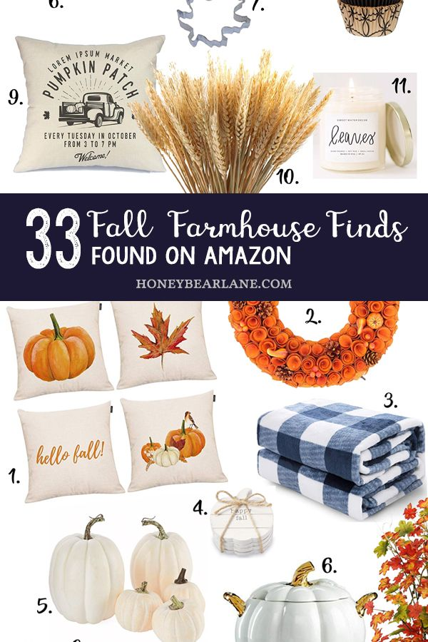 Fall Farmhouse Decor on Amazon - I compiled some of my favorite fall farmhouse decor on Amazon, because that's always my first go-to spot for decor.  You can honestly find such great things for amazing prices.  #falldecor #falldecorating #fallfarmhousedecor #amazondecorfinds #amazondecor