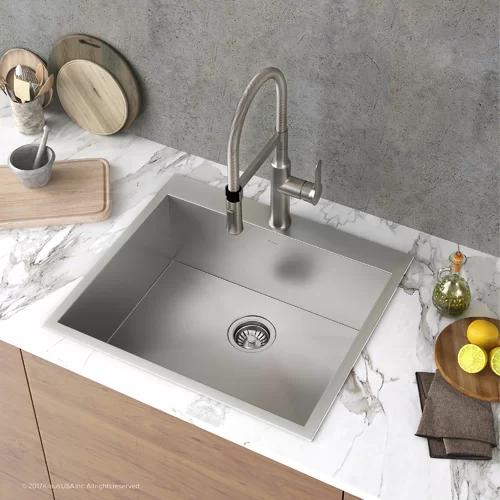 Pax Zero Radius Topmount Series 25 X 22 Drop In Kitchen Sink Drop In Kitchen Sink Single Bowl Kitchen Sink Sink 25 x 22 stainless steel sink