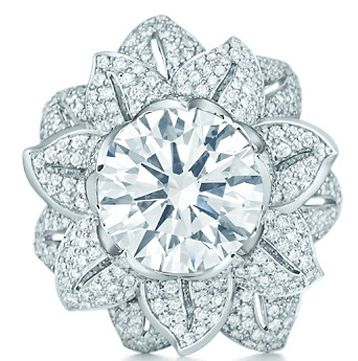 The Great Gatsby Collection flower ring in platinum with a 5.25-carat diamond by Tiffany & Co