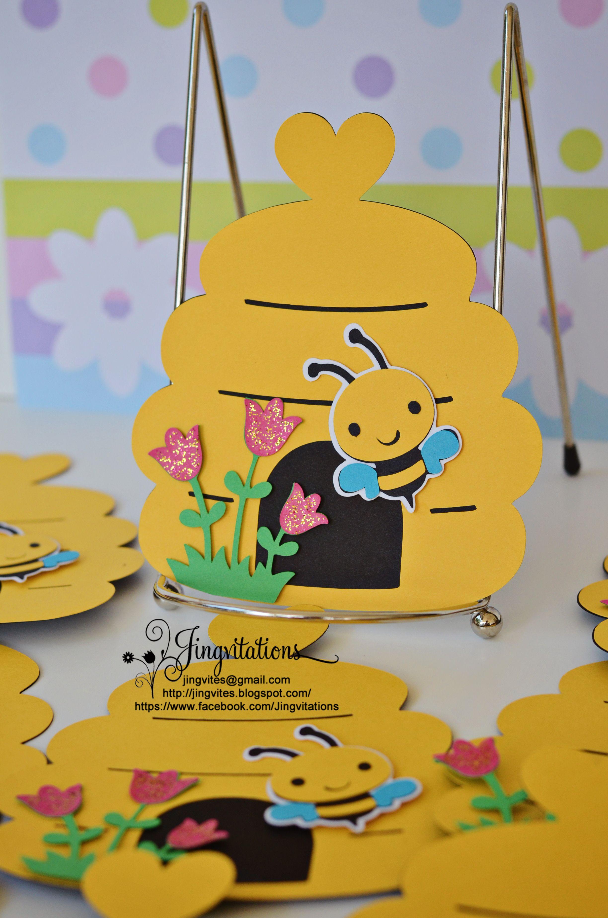 Cricut Handmade Bumble Bee Invitations – Bumble Bee Party Invitations