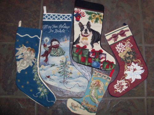 Christmas Stocking Victorian Tapestry Needlepoint Dog Snowman Angels Poinsettia | eBay