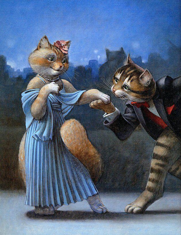 Кот и кошка картинки нарисованные