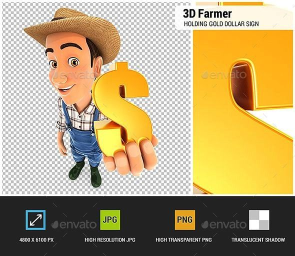 Farmer Holding Gold Dollar Sign 3D character render3D Farmer Holding Gold Dollar Sign 3D character render 3D Detective Holding Placard with Thumb Up 3D render of a thumb...