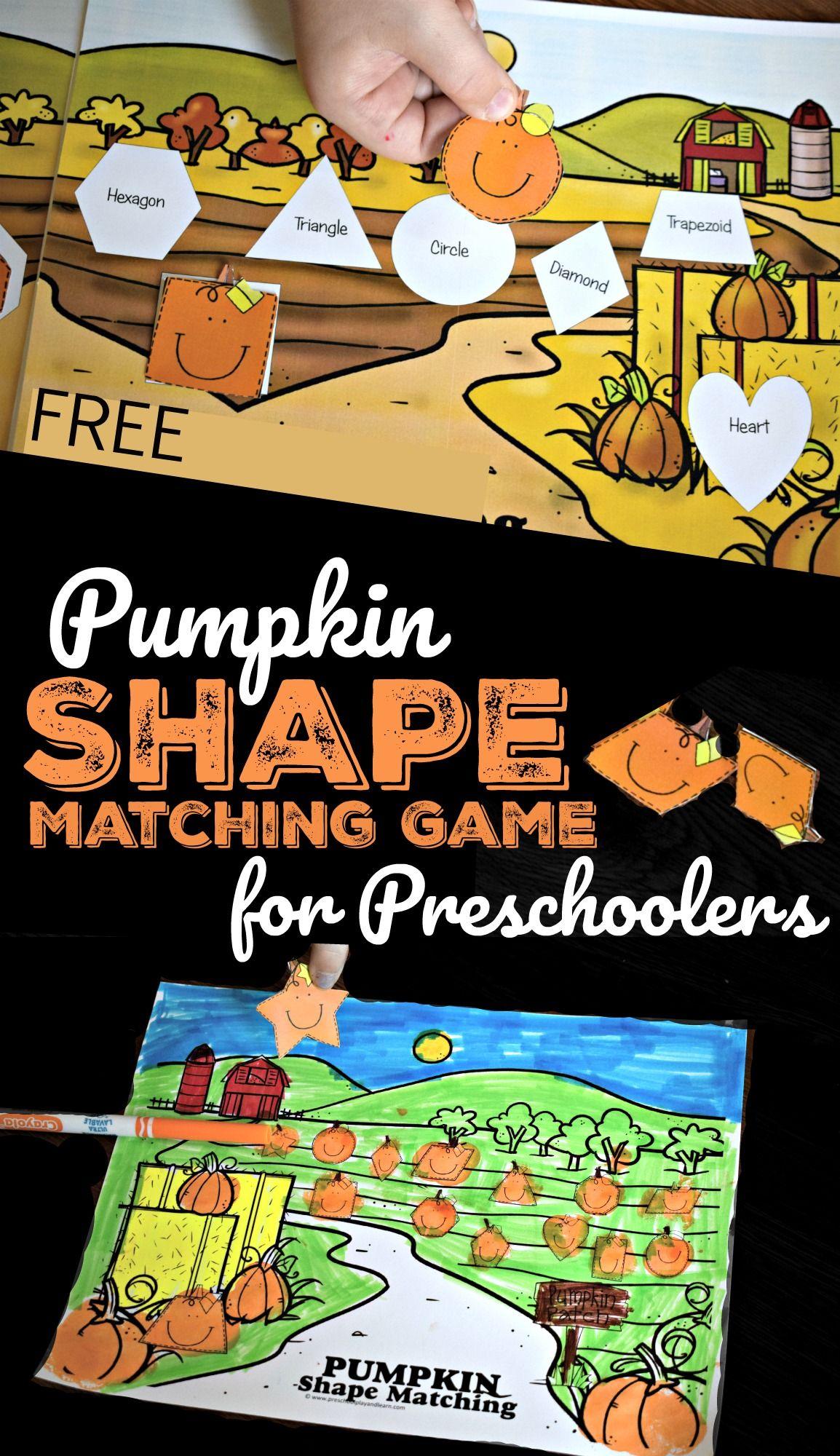 Free Pumpkin Shape Matching Game For Preschoolers