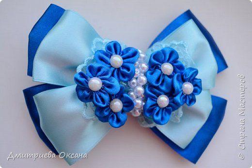 Мастер-класс Канзаши. Цветы Канзаши из атласных лент. Заколка для волос. Нарядный голубой бант Канзаши.   Страна Мастеров