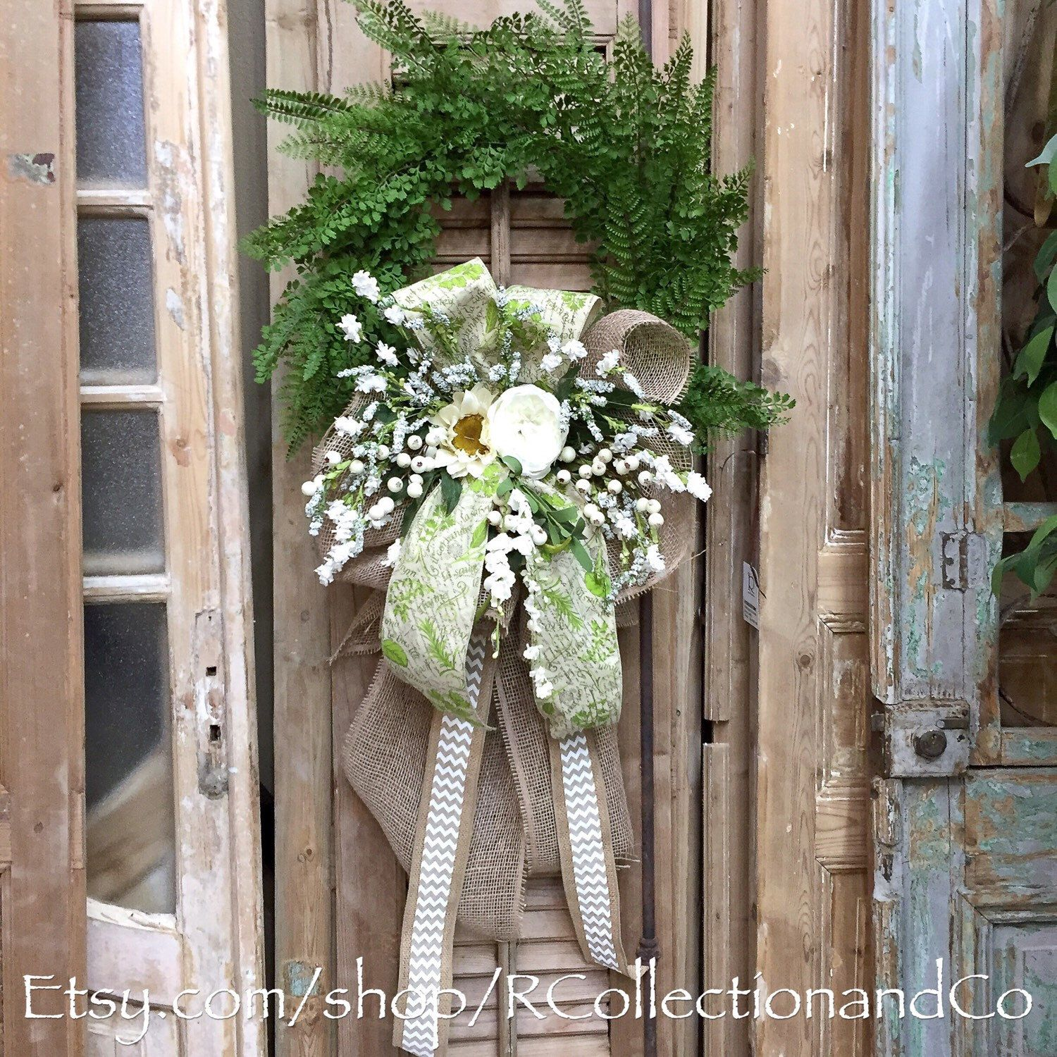 Faux Fern Sunflower & Rose Outdoor Wreath, Wreath, Door Decor, Fern Wreath by RcollectionandCo on Etsy https://www.etsy.com/listing/293486467/faux-fern-sunflower-rose-outdoor-wreath