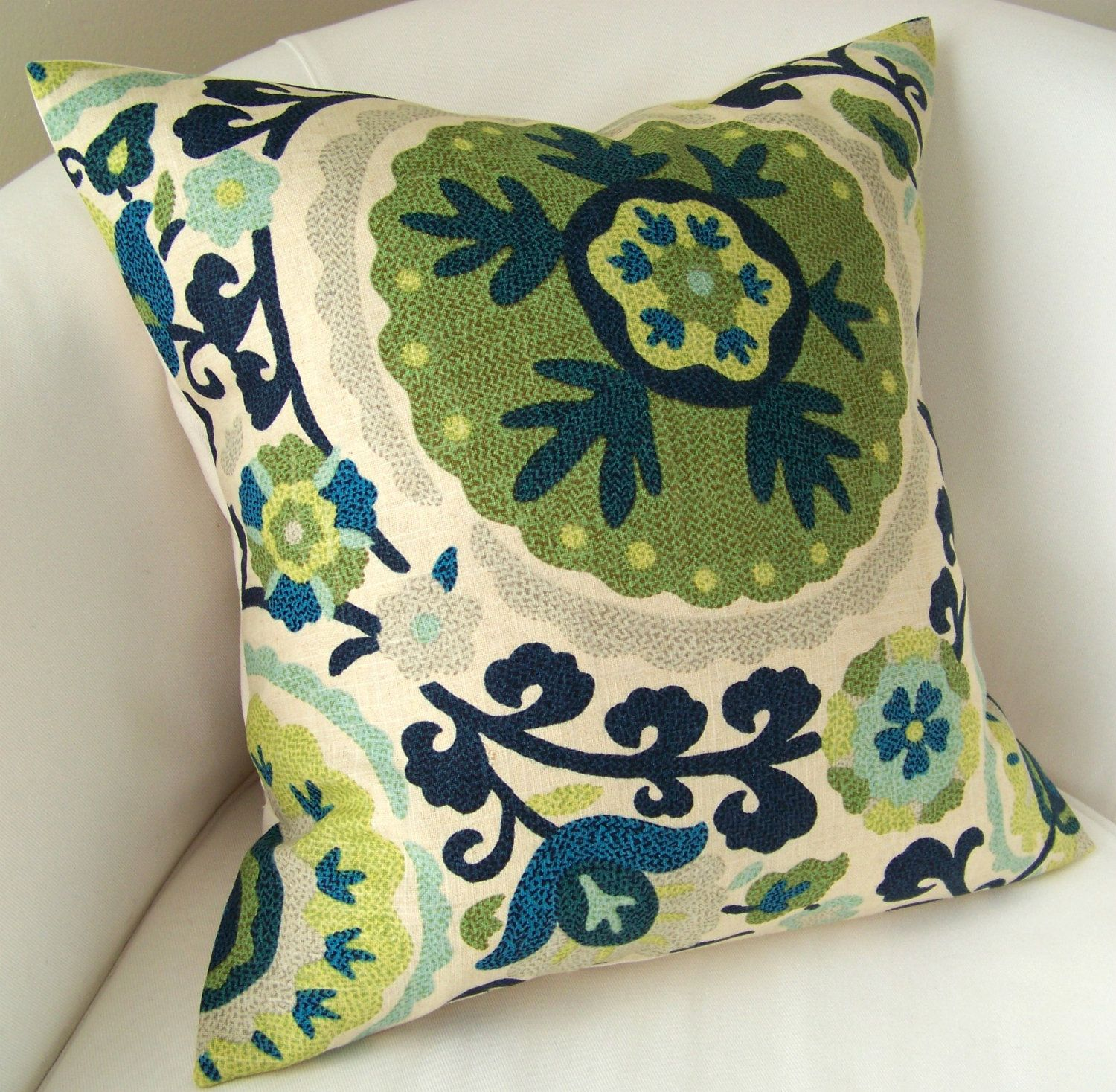 Suzani Pillow Cover 18 X 18 Inch Blue Green Decorative Pillow