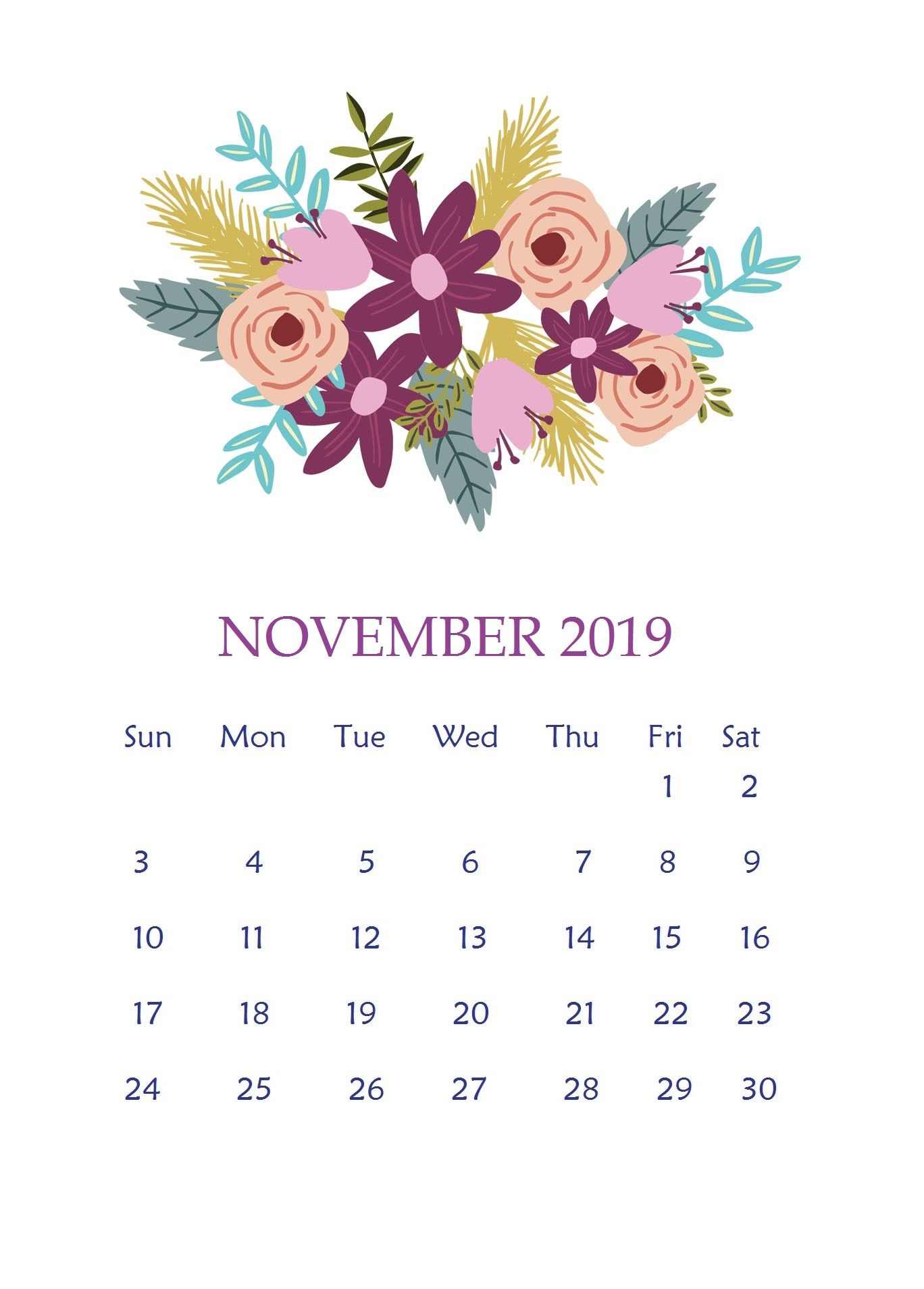 Awesome Cute November Calendar 2019 Floral Wallpaper For