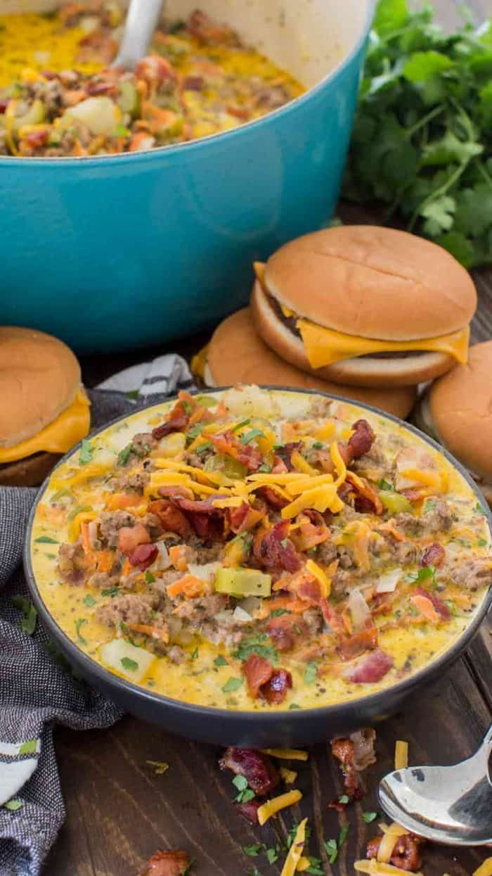 Bacon Cheeseburger Soup - Spend With Pennies