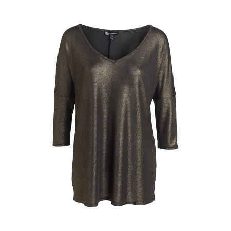 Guldglittrig tröja med trekvartsärm och bred v-ringad halsringning samt slits i nederkant. Längd 70 cm i storlek 38.
