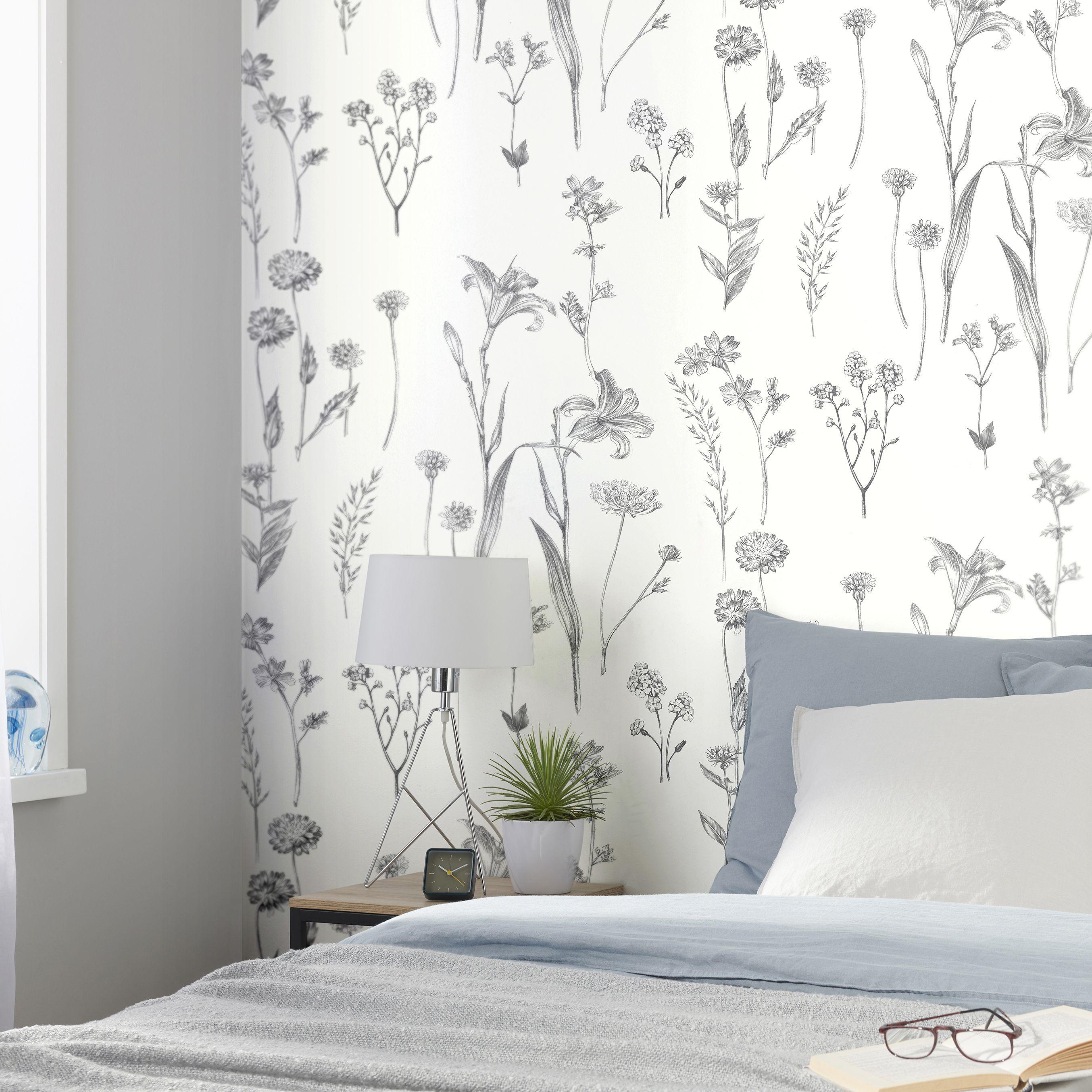 Goodhome Conyza Grey White Floral Wallpapermulticolour Goodhome Textured Wallpaper Home Wallpaper