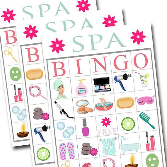 Spa Bingo Printable Game Girls Party Game By