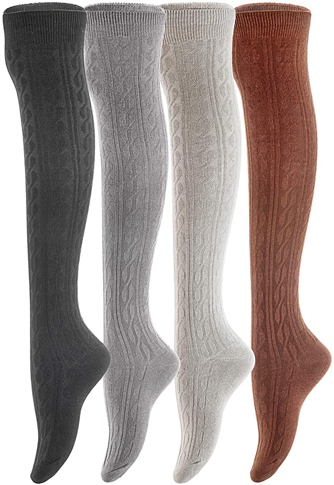 Lian LifeStyle Womens 4 Pairs Adorable Thigh High Cotton Socks LW1024 Size 6-9