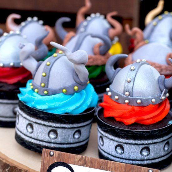 Edible gumpaste Viking helmet cupcake toppers are easier to make than you'd guess! A tasty treat for your marauding hordes.
