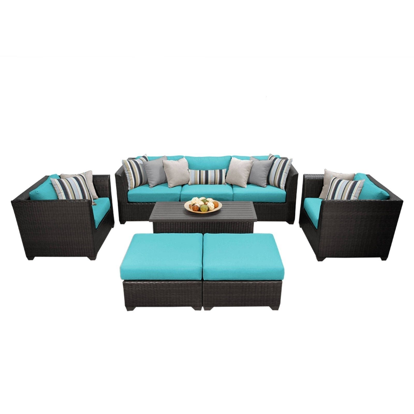 Meridian 8 Piece Outdoor Patio Wicker Lounge Set (Turquoise), Blue, Size 8