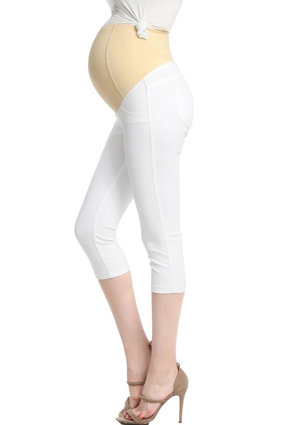 7476c3058f224 Maternity Outfits - oversized maternity leggings : Momo Maternity Womens  Capri Jeggings White S >>> Check out this great product. (This is an  affiliate ...
