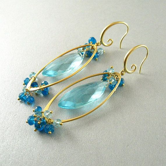 Blue Quartz and Apatite Gold Dangle Earrings | Dangles, Gold and ...