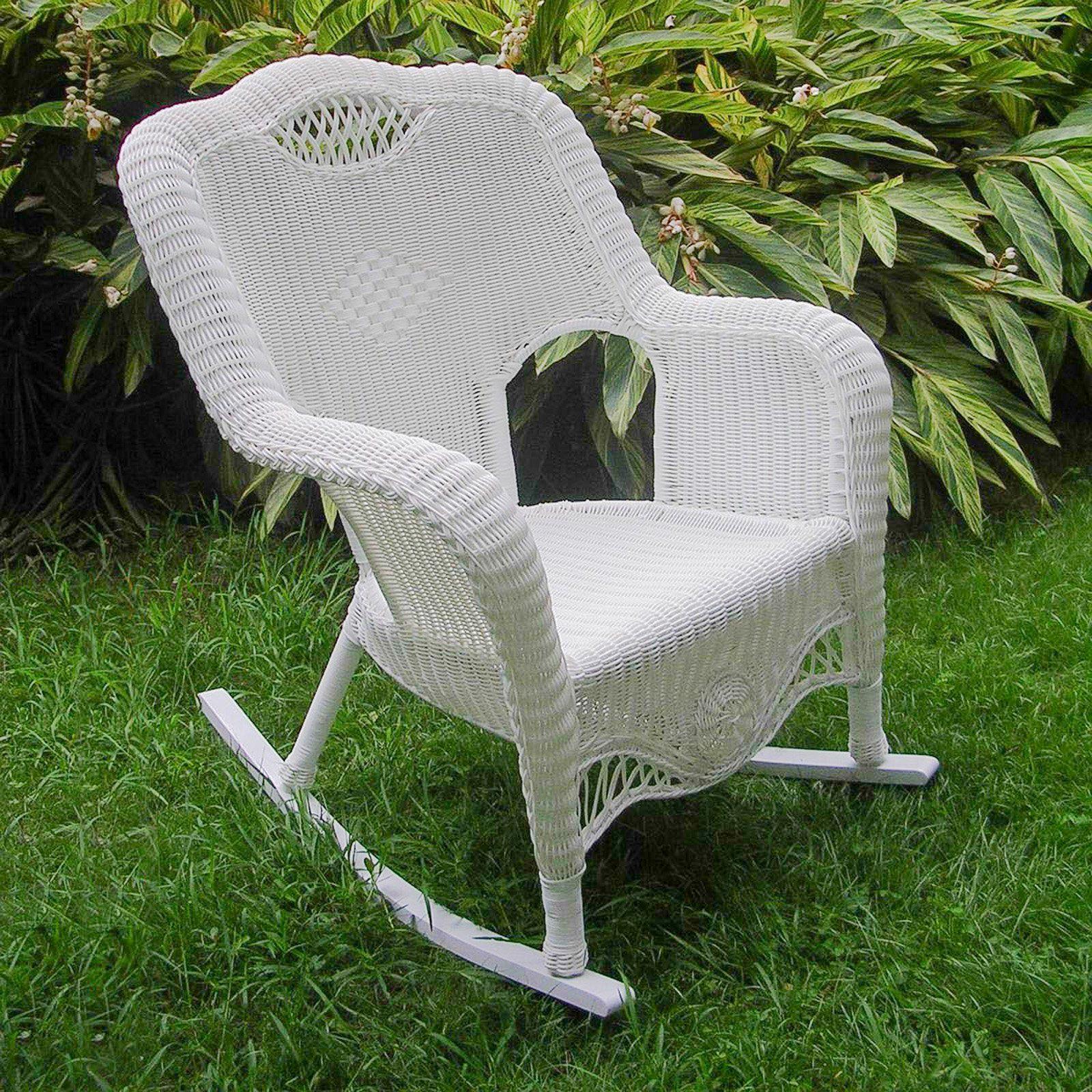 b1a68433fcc44 International Caravan Maui Resin Wicker Outdoor Rocking Chair White