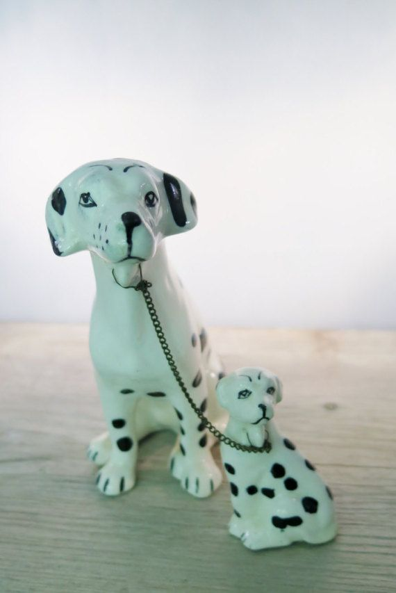 Vintage Dalmatian Dogs Mother And Puppy Connected With Chain Hand