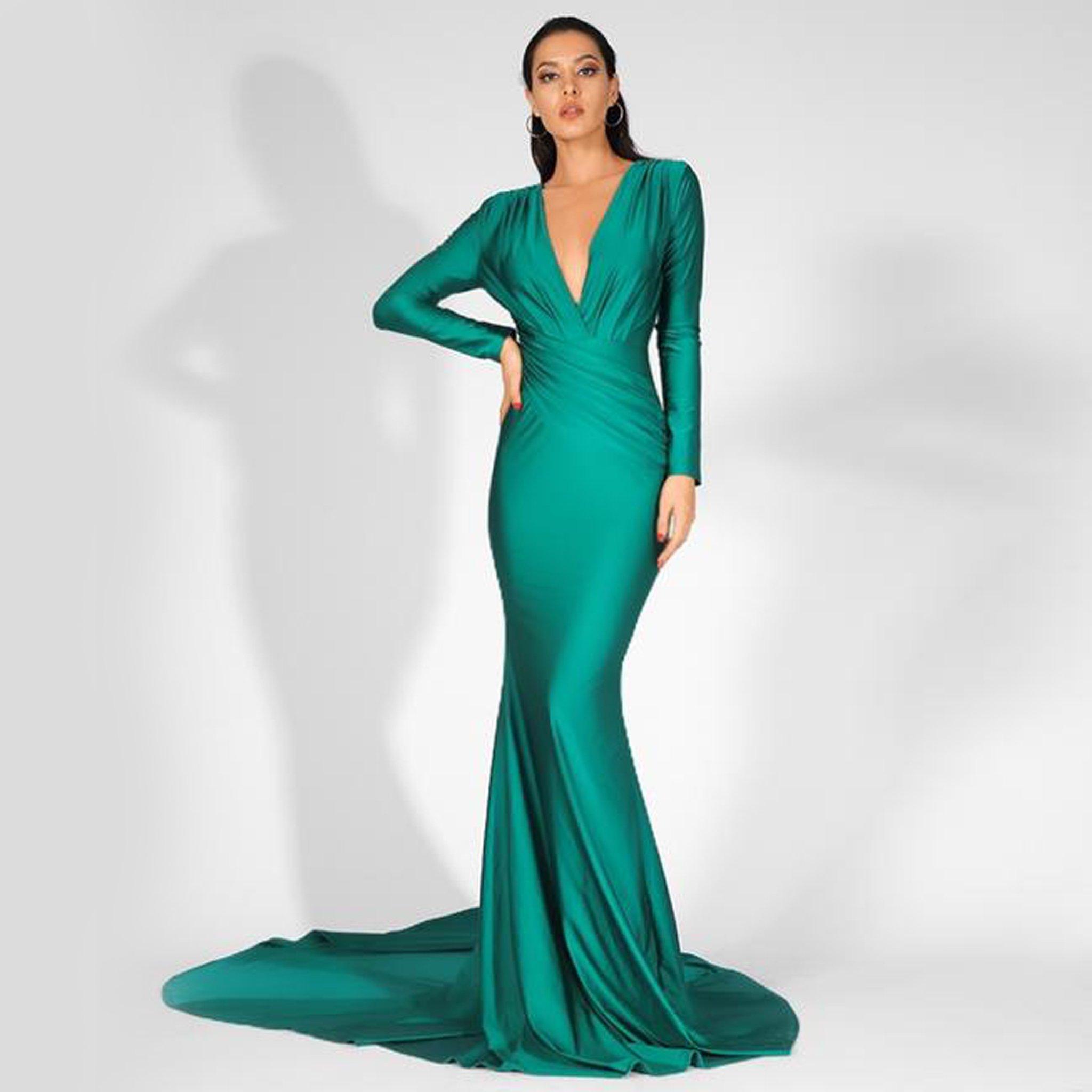 Jamila Gown Emerald Long Sleeve Bridesmaid Dress Green Evening Gowns Ball Gown Dresses [ 2048 x 2048 Pixel ]