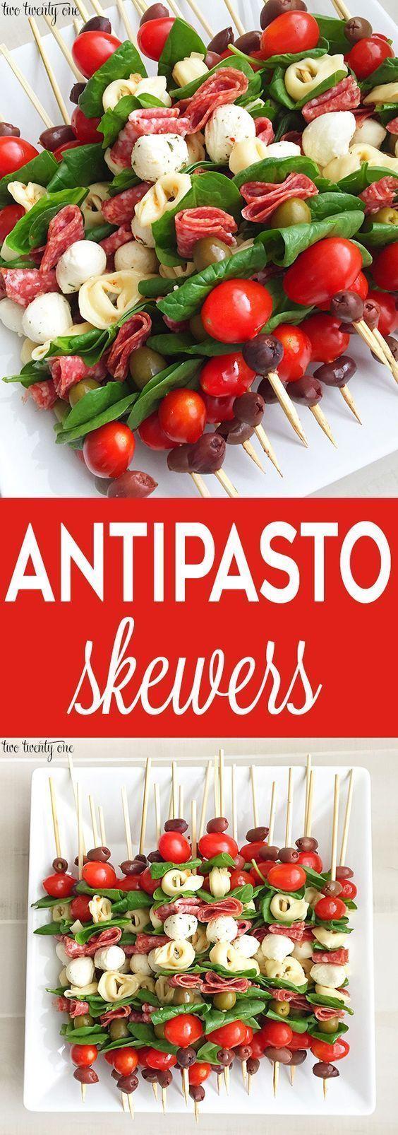 Leckere Antipasto-Spieße! Tolle Vorspeise und einfach zu machen #mexicanshrimprecipes