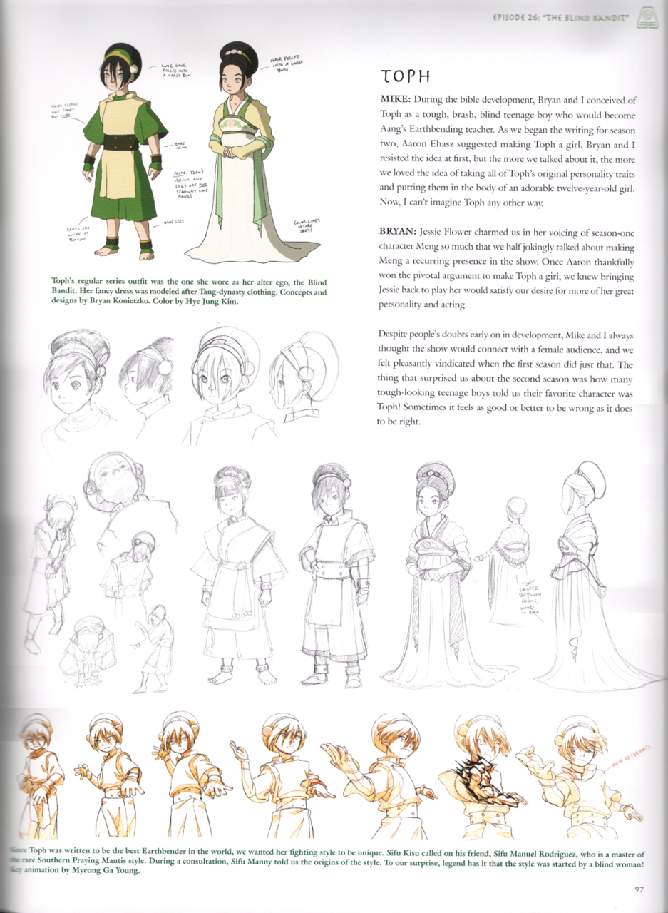 Avatar Last Airbender Character Design : Toph from avatar concept art gt was originally a boy