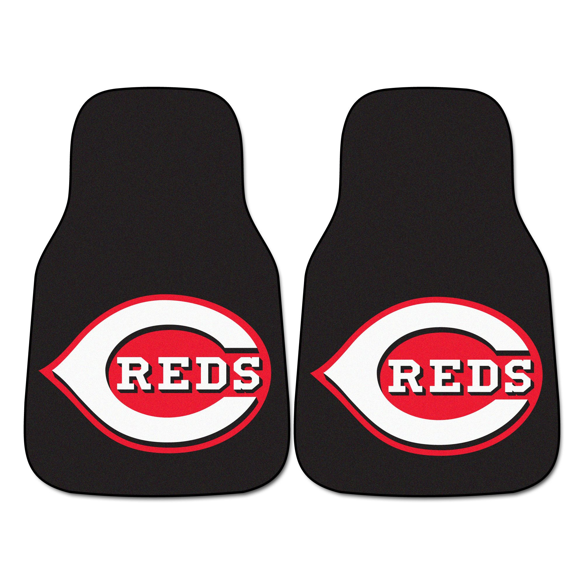 "Cincinnati Reds 2-piece Carpeted Car Mats 17x27 - Protect your vehicle's flooring while showing your team pride with car mats by FANMATS. 100% nylon face with non-skid vinyl backing. Universal fit makes it ideal for cars, trucks, SUVs, and RVs. The officially licensed mat is chromojet printed in true team colors and designed with a large team logo. Made in USA.FANMATS Series: CARCARPTeam Series: MLB - Cincinnati RedsProduct Dimensions: 17""x27""Shipping Dimensions: 27""x18""x0.5"". Gifts…"