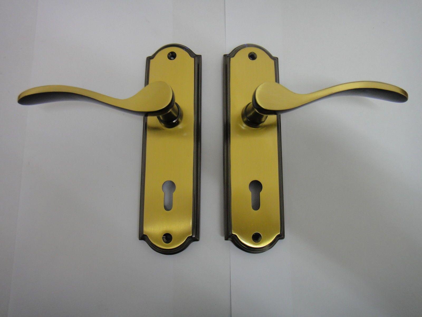 Homebase howard lever lock handle in antique brass finish - new & Homebase howard lever lock handle in antique brass finish - new ...