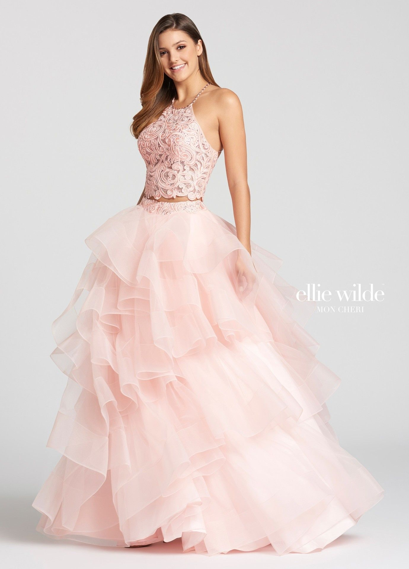 Ellie Wilde EW118169 Tiered Lace & Tulle 2PC Ball Gown