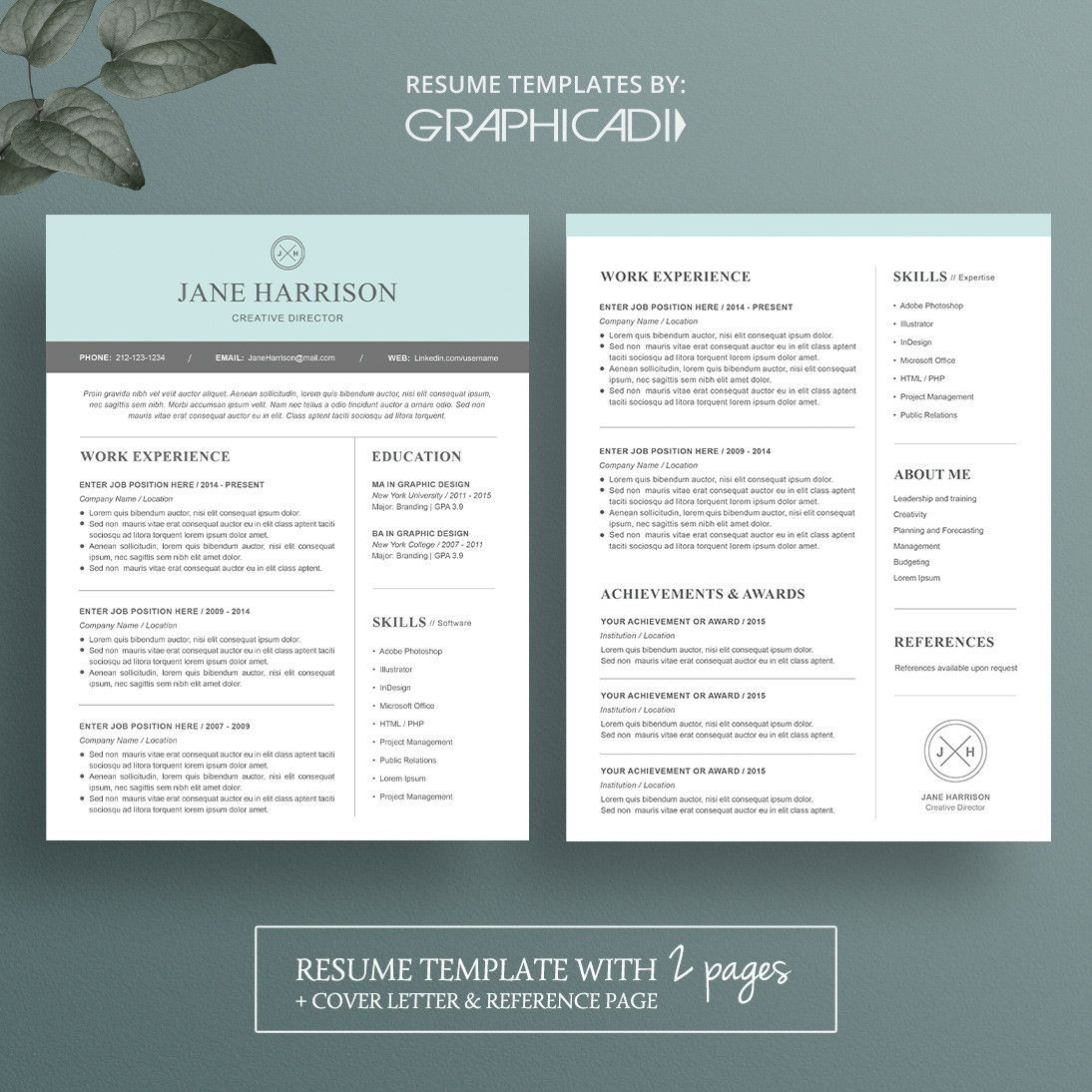 Two Page Resume Template Fresh Modern Resume Template for