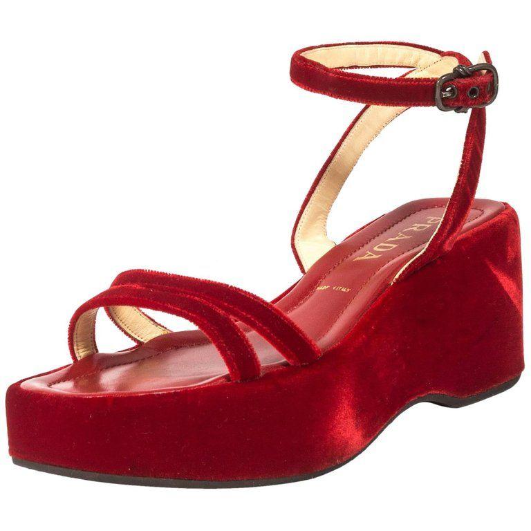 3a45b66723bd For Sale on 1stdibs - Prada red velvet platform sandals