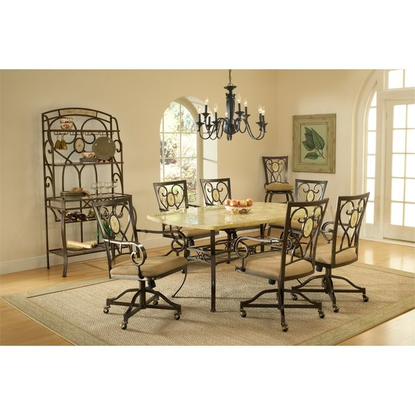 Dining Sets Brookside Stone 7 Piece Rectangle Set With Oval Back Caster Chairs