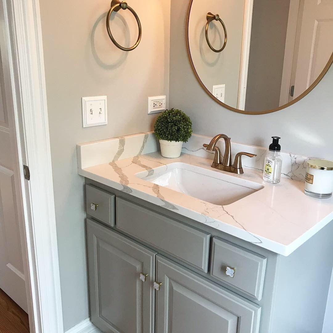Powder Bathroom #graycabinets Dorian Gray Cabinets, Repose ...