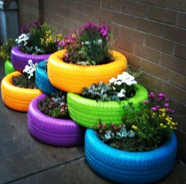 Cute idea! jardineria Pinterest Jardinería, Llantas y Jardines - jardines con llantas