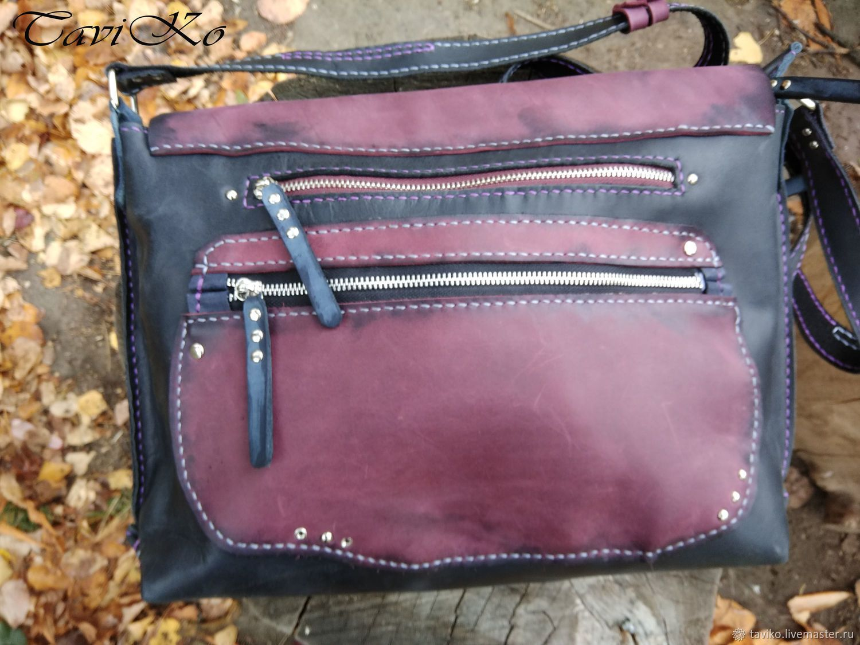 2ef30c29f281 Купить Сумка кожаная женская Crossbody из кожи Крейзи Хорс - бордовый, сумка,  черный