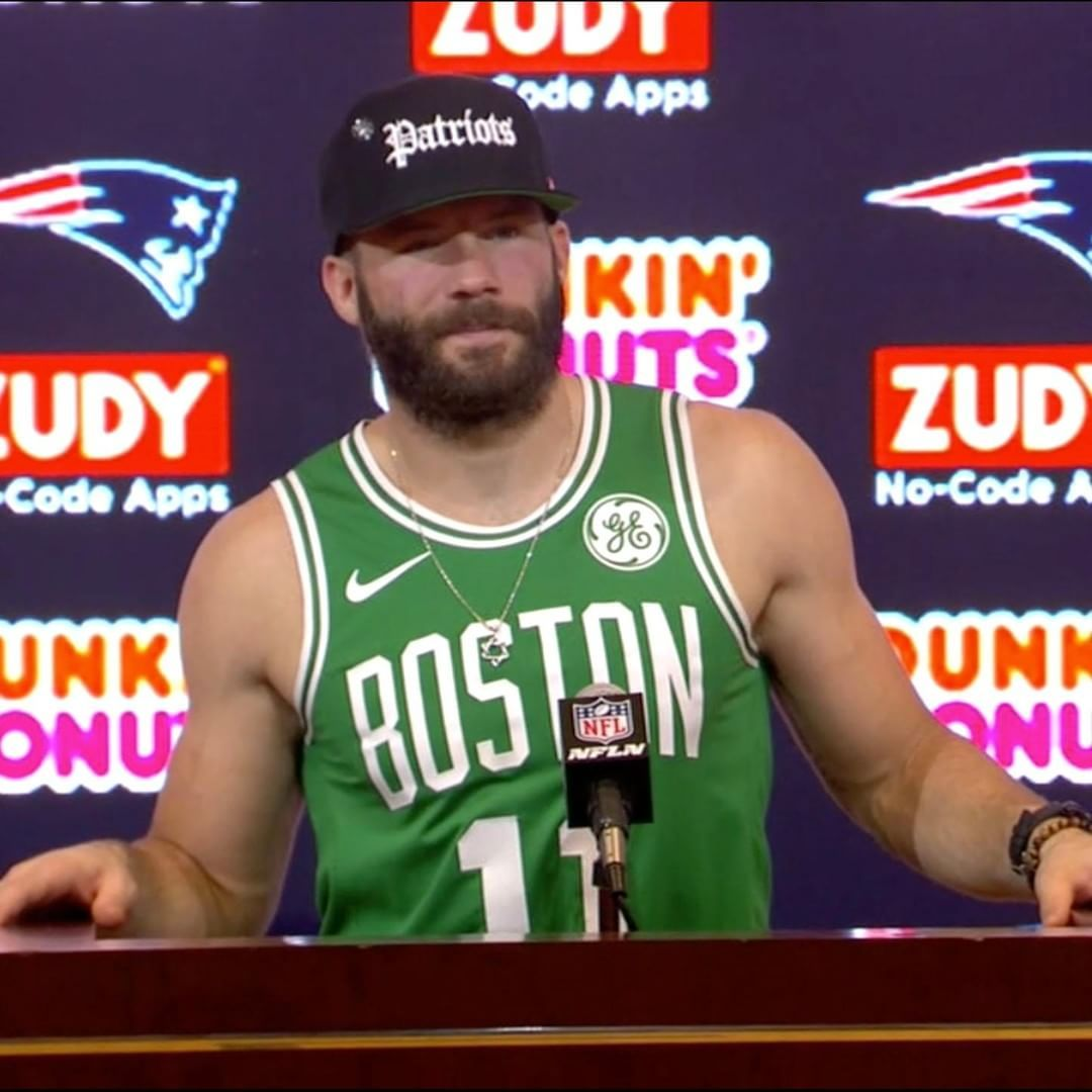 Nfl On Espn On Instagram Julian Edelman Went With The Celtics Jersey After The Patriots Win Julian Edelman Edelman Patriots