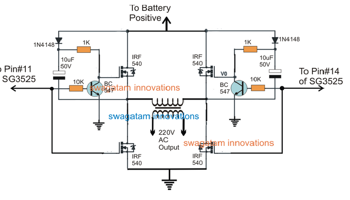Sg3525 Full Bridge Inverter Using Bootstrapped Bjt  Mosfet